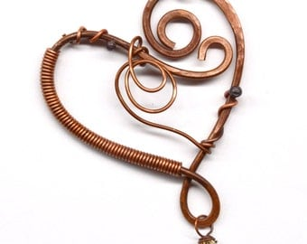 Wire Wrapped Heart Shaped Pendant Component PN185