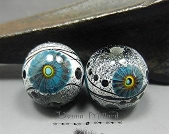 HANDMADE LAMPWORK BEADS Earrings Pair Donna Millard sra earring beads black grey white boho bohemian