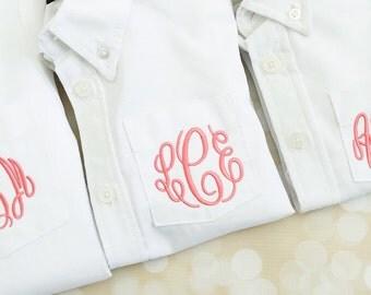 Flower Girl Button Down Shirt - Oversized Boy's Button Down Shirt - Flower Girl Shirt - Monogrammed Wedding Party Shirt for Flower Girl