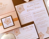 Beach Elegance BLUSH and ANTIQUE GOLD Pocket Folder Style Wedding Invitation