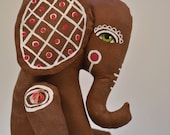 Gingerbread Elephant Hand-Painted Original Christmas Folk Art Cloth Doll Sculpture OOAK