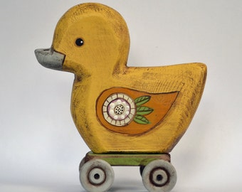 Fok Art Duck Hand-Painted Wooden Sculpture Original Contemporary Ducky OOAK