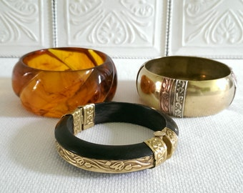 Vintage Brass and Bone Bangle With Embossed Detail