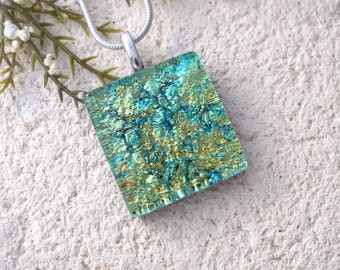 Petite Necklace, Golden Green Necklace, Dichroic Jewelry, Dichroic Necklace, Fused Glass Jewelry, Silver Necklace, Glass Pendant, 073116p107
