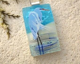 Heron Necklace, Dichroic Blue Heron,Silver Necklace,  Dichroic Jewelry, Fused Glass Jewelry, Bird Necklace,Dichroic Glass Jewelry 121615p105