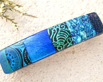 Medium Dichroic Barrette, Blue & Green Barrette, Hair Barrette, French Barrette, Fused Glass Barrette, Fused Glass Jewelry,   041916ba101