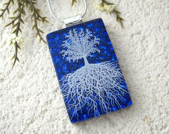 Tree of Life, Fused Glass Jewelry, Dichroic Pendant, Dichroic Jewelry, Rooted Tree, Blue Jewelry, Silver Necklace, ccvalenzo, 070817p100