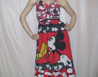 Mickey Mouse Dress Upcycled 80s red black yellow Disney Patchwork Hippie Sundress Mom Party Adult S M L XL Plus Convertible Dress