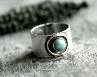 Turquoise Ring - Wide Band Sterling Silver Ring - Hand Forged Metal Jewelry - Southwestern Ring - Turquoise Jewelry - Textured Silver Ring