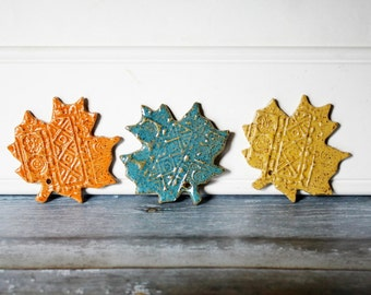 Hanging Clay Leaves, Ornaments, Set of 3