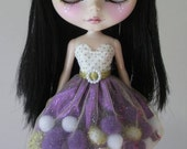 White, Purple and Gold pom-pom dress for Blythe and Pullip