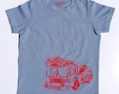 Organic S/S Blue Firetruck T Shirt - 6 months to 12 years