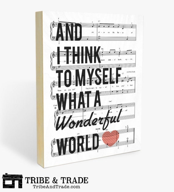 """What a Wonderful World : Wood Wall Art Print - 8x10"""" or 11x14"""" Louis Armstrong Song Lyric and Sheet Music - Ready to Hang Wooden Wall Decor"""