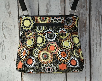 iPad Purse Kindle Handbag - Shoulder Bag Purse - Fast Shipping - Padded Electronics Tablet Pocket MEDIUM HOBO BAG Madallion  Fabric