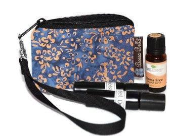 Small Essential Oil Bag - Essential Oil Pouch - Small Bag - Oil Pouch - Fast Shipping - Blue Batik Fabric
