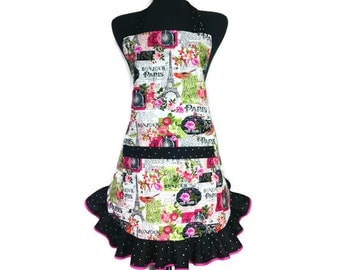 Woman's Retro Kitchen Apron, Romance in Paris,  Eiffel Tower and Flowers, Black ruffle