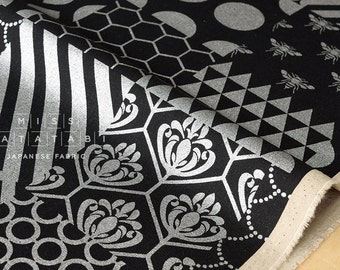 Japanese Fabric Kokka Echino - piece metallic - silver, black - 50cm