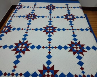 King  size machine quilted  Patchwork   Complete Quilt