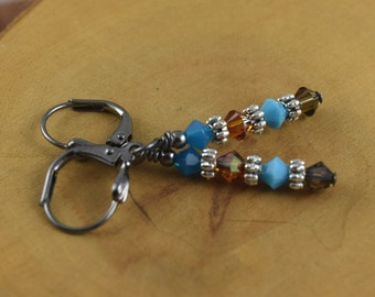 DURANGO brown and blue gunmetal leverback Les Petite Cristaux Swarovski crystals handcrafted earrings gorgeous and still affordable