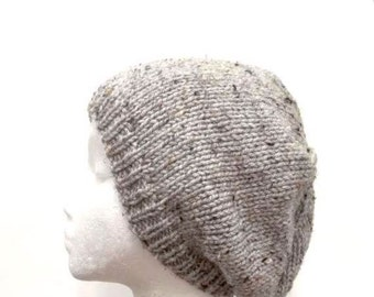 Knitted beanie hat, gray beret, knit hat   4934