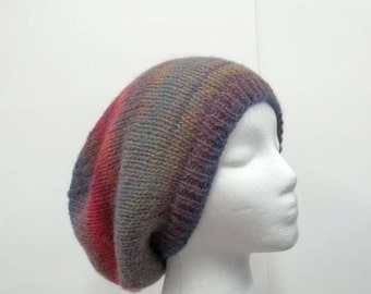 Slouchy beanie hat, very colorful, hand knitted oversized beanie   5176