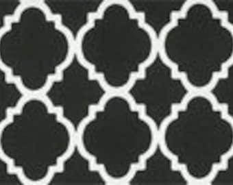Black or Gray Quatrefoil Crib Skirt - Your Choice Pleated or Straight - Your Choice Black or Gray (Grey)