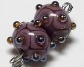 Handmade Lampwork Beads by Cheryl's Art Earring Pair Violet Mauve