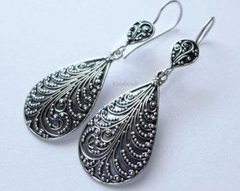 2 Tiers Tear Drop Swirl Pattern Bali Ornate Sterling Silver Earrings AE16
