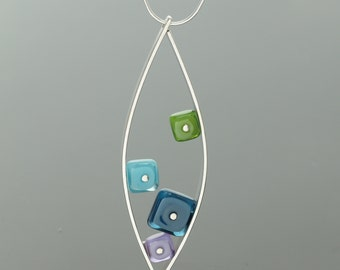 Statement Necklace Glass and Sterling Silver Modern Geometric Blues and Purples, Colorful Modern