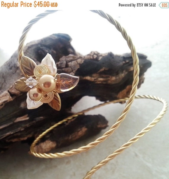 ON SALE Golden Slumbers Arm Band Bracelet, Bridal Body Jewelry Arm Cuff
