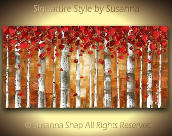 Red Birch Tree Abstract Art PRINT on CANVAS Autumn Fall Aspen Landscape Forest Large Modern Red Brown Wall Art by Susanna Sm to XXL