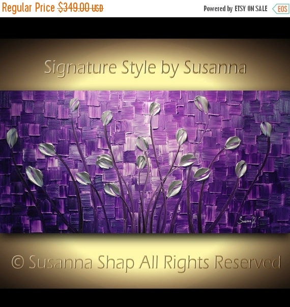 ORIGINAL Large Abstract Purple Silver Tulips Landscape Modern Thick Impasto Texture Palette Knife Painting by Susanna 48x24 Made2Order