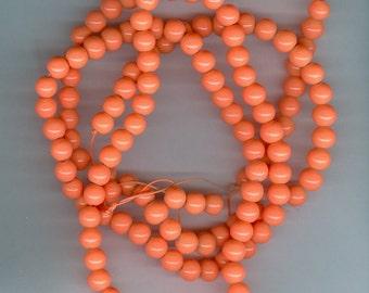 6mm Bright Orange Glass Round Beads
