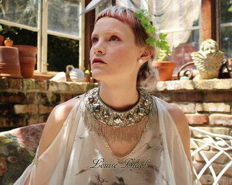 Nuit's Gilded Egyptian Ritual Collar Necklace by Louise Black