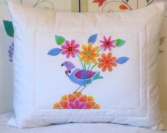 "Pillow Cover - ""Ariel's Garden"" Design"