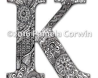 K Monogram Coloring Page