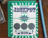 letterpress dad i hit the jackpot with you! scratch off ticket greeting card lotto gambling win father's day