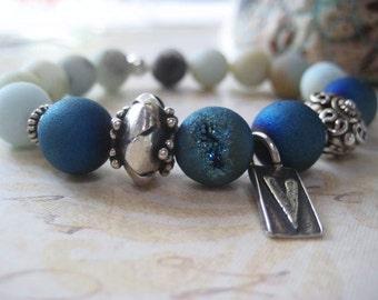 Blue Druzy Bracelet, Agate Druzy, Sterling Silver, Bali Beads, Genuine Druzy Agate, Artisan Charm, Matte Amazonite, Shades of Blue