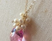 SALE Ready to Ship, Be My Valentine Pink Topaz Gemstone and Freshwater Pearl Cluster Necklace, 14K Gold Fill Chain