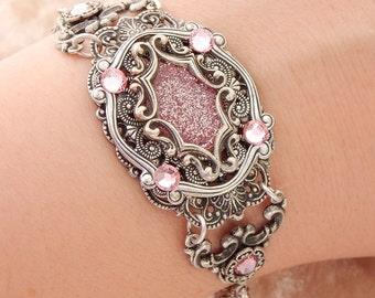 Blushing Bracelet- Antiqued Silver Filigree and Glitter (B-037)