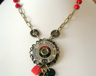 Thread Advertisement and Button Pendant Necklace with Rosary and Bronze Chains