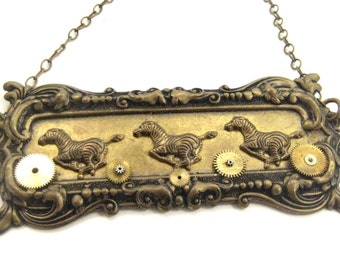 Running Free ... Steampunk Victorian Zebra  Necklace   One of a Kind Creation