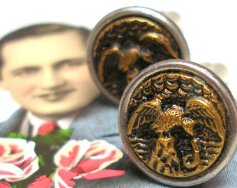 Eagle & snake, Antique BUTTON cuff links, Victorian bird on gold. Antique Button Jewelry.