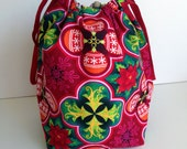 HOLIDAY SALE - Christmas Tree Bulb Poinsettia Snowflake Knitting Drawstring Project Bag