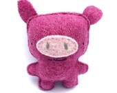 Dark Pink Flying Pig - Recycled Wool Sweater Plush Toy