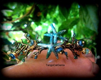 Starfish in The Morning Tide Hand Painted  Ocean Design Bracelet