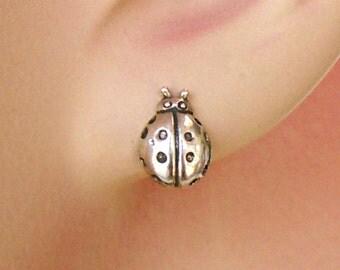 Sterling Silver Earrings Lady Bug Ear Studs no. 3472