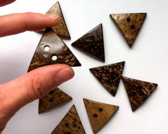 "Sewing Buttons (B125) Large Triangle Coconut Wood Buttons 1.5"" - 40mm for Sewing Crafts Scrapbooks Knitting Crochet Sweaters"