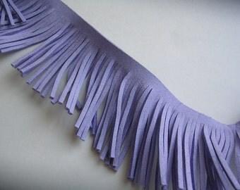 "Fringe Trim (R113) Faux Suede Fringe Light Purple Lavender Trim  12"" Length 2"" tall fringe Perfect for Making Tassels and other crafts"