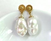 Reserved for Faye...STUNNING Museum Quality Baroque Flameball Pearl Earrings in 14kg fill....